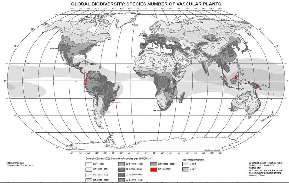 Mt wilhelm papua new guinea plant diversity number of plant species per 10000 km2 sciox Image collections