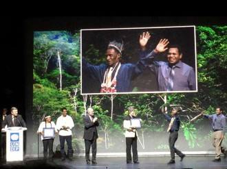 Wanang conservation leader Filip Damen receiving the UNDP Equator prize in Paris in 2015