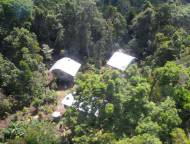 The station from the air - low impact construction in pristine forest.