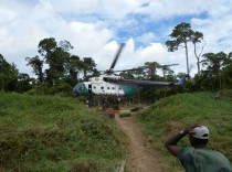 Flying 30 tons of building materials into the forest.