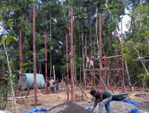 Construction site in the rainforest – erecting the first building.